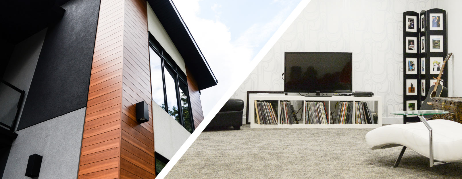 split image of modern home exterior with grey, black and wood and a white chaise lounge facing a matching entertainment centre with dark guitar, records, tv and chest. white walls and grey carpet.